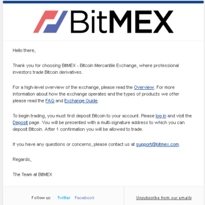 BitMEX登録メール「Welcome to BitMEX」